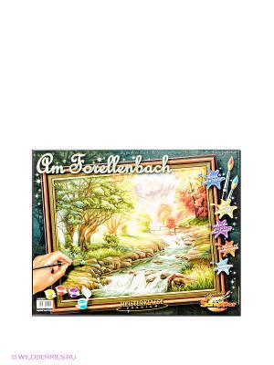 Раскраска по номерам Горная река Schipper. Цвет: зеленый