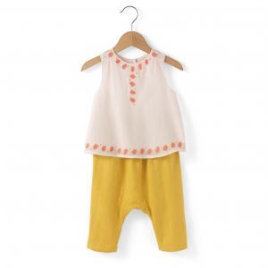Комплект из 2 предметов: блузка и шаровары, 0 мес. - года R mini. Цвет: желтый/рисунок