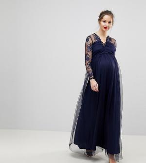 ASOS Maternity Кружевное платье макси с длинными рукавами. Цвет: темно-синий