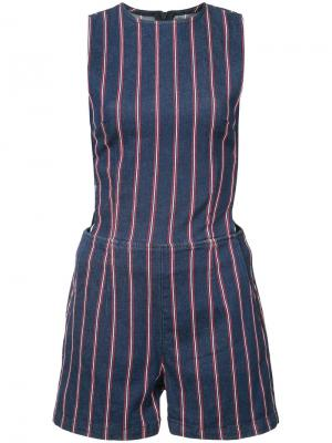 Striped playsuit 3X1. Цвет: синий