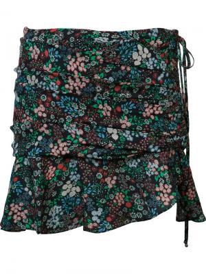 Юбка мини с цветочным принтом Veronica Beard. Цвет: чёрный