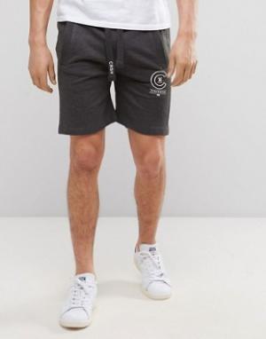 Crosshatch Трикотажные шорты с логотипом. Цвет: серый