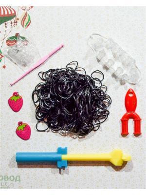 Набор резинок для плетения 500 крючок большой станок рогатка S-зажимы брелоки Loom Bands. Цвет: черный