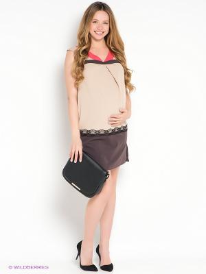 Платье UNIOSTAR. Цвет: бежевый, коричневый