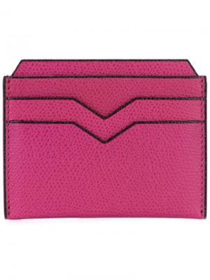Плоская визитница Valextra. Цвет: розовый и фиолетовый
