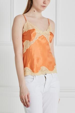 Шелковый топ Meryline Sabbia Rosa. Цвет: оранжевый
