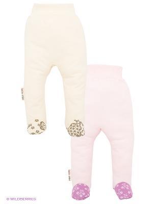 Ползунки, 2 шт. Lucky Child. Цвет: бледно-розовый, молочный