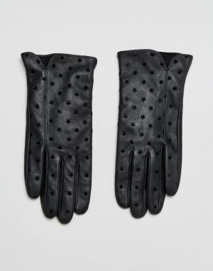 Boardmans Кожаные перчатки с принтом. Цвет: черный