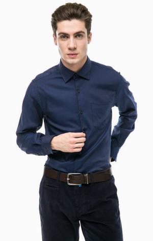 Синяя рубашка с карманом Pierre Cardin. Цвет: синий