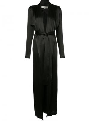 Длинный халат с поясом Galvan. Цвет: чёрный