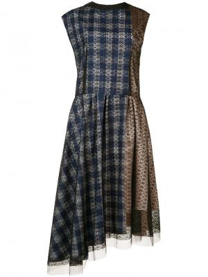 Платье с асимметричным подолом Les Animaux. Цвет: синий