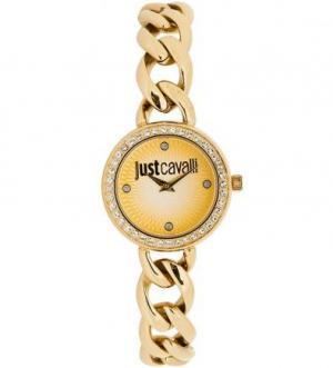 Часы круглой формы с золотистым браслетом Just Cavalli