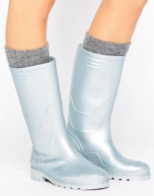Juju Резиновые сапоги цвета металлик в винтажном стиле. Цвет: серебряный