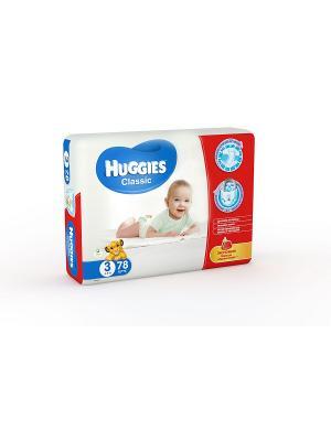 Подгузники CLASSIC Размер 3 4-9кг 78шт HUGGIES. Цвет: белый, голубой, красный