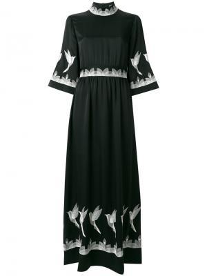 Платье макси с отделкой в виде птиц Vilshenko. Цвет: чёрный