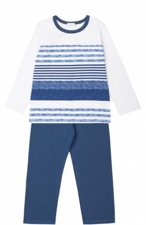 Пижама из хлопка с принтом La Perla. Цвет: синий