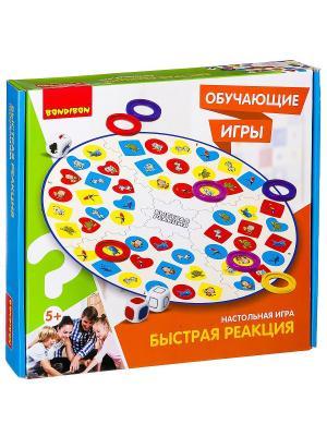 Обучающие игры Bondibon Настольная игра БЫСТРАЯ РЕАКЦИЯ, BOX 32х5x29.5 см. Цвет: зеленый, белый, светло-оранжевый