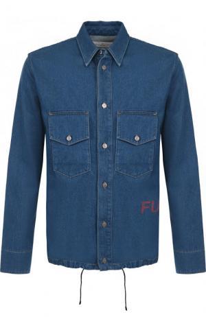 Джинсовая рубашка с подолом на кулиске Golden Goose Deluxe Brand. Цвет: темно-синий