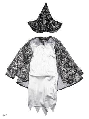 Карнавальный костюм Ведьмочка Батик. Цвет: серый, серебристый