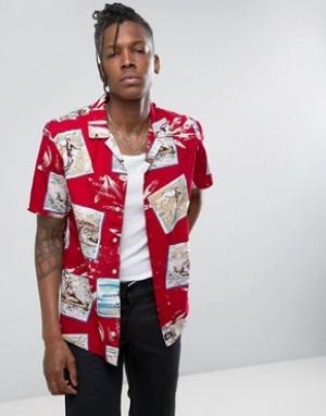 Dickies Рубашка классического кроя с принтом. Цвет: красный