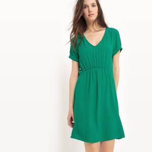 Платье эластичное с короткими рукавами SUD EXPRESS. Цвет: зеленый
