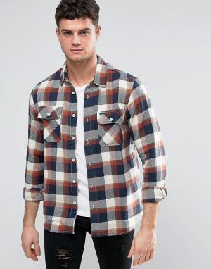 RVCA Фланелевая рубашка с карманами клапанами. Цвет: красный