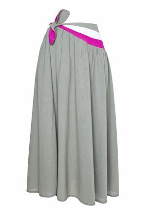 Юбка-парео с разноцветным поясом (80-е гг.) Lanvin Vintage. Цвет: серый, белый, розовый