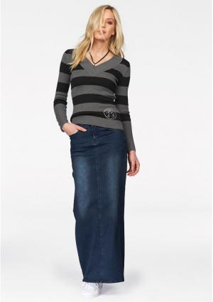 Джинсовая юбка Arizona. Цвет: белый, темно-синий потертый, черный деним
