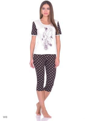 Пижама: футболка, бриджи NAGOTEX. Цвет: молочный, коричневый