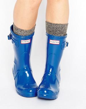 Hunter Короткие блестящие резиновые сапоги Original. Цвет: синий
