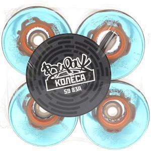 Колеса для скейтборда лонгборда  83A 59 mm Blue Led Orange Вираж. Цвет: голубой,оранжевый