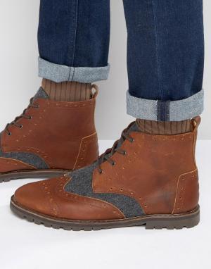 Toms Кожаные ботинки-броги с шерстяной отделкой. Цвет: коричневый