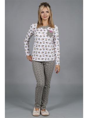Пижама ОДДИС®. Цвет: коричневый, белый