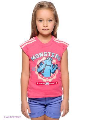 ФутболкаMonsters Adidas. Цвет: розовый, белый, голубой