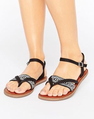 Toms Черные сандалии с вышивкой Lexie. Цвет: черный