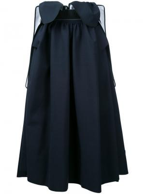 Плиссированная юбка миди Maticevski. Цвет: синий