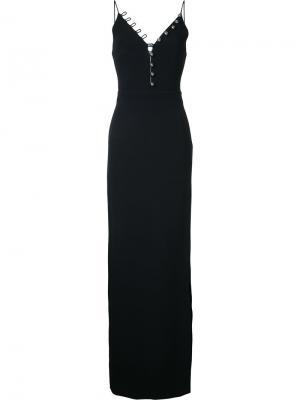 Длинное платье с v-образным вырезом на пуговицах David Koma. Цвет: чёрный
