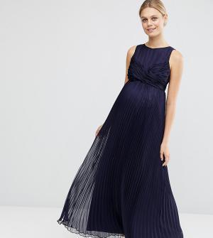 ASOS Maternity Плиссированное платье макси для беременных. Цвет: синий