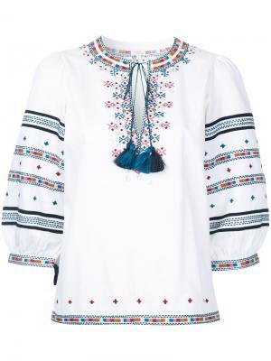 Вышитая блузка Zoya в пейзанском стиле Talitha. Цвет: белый