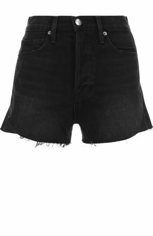 Джинсовые мини-шорты с потертостями Frame Denim. Цвет: черный