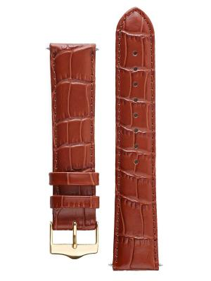 Классический ремешок для часов из кожи теленка с фактурой под аллигатора. Ширина от 14 до 20 мм Signature. Цвет: коричневый