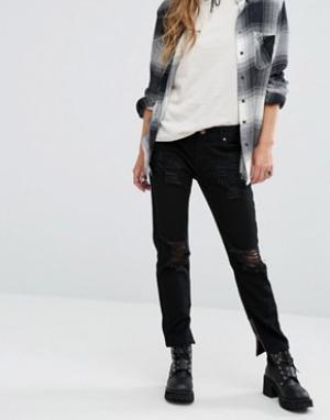 Lira Джинсы в винтажном стиле с завышенной талией и потертостями. Цвет: черный