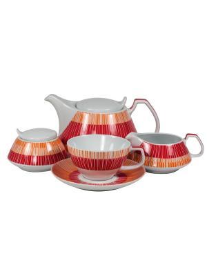 Сервиз чайный  17 предм. Страйп Маниа красный Royal Porcelain. Цвет: молочный