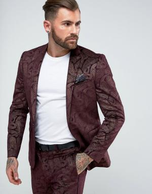 ASOS Бордовый приталенный пиджак-смокинг из бархата с узором пейсли. Цвет: красный