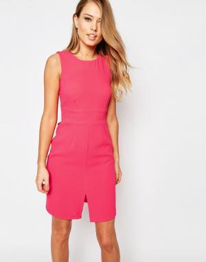 Closet London Платье миди с разрезом спереди и завязкой сзади. Цвет: розовый