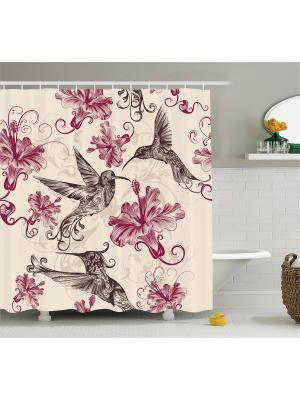 Фотоштора для ванной Цветущая ветка, влюблённая бабочка, розовые цветы, колибри и гибискус, 180x20 Magic Lady. Цвет: бежевый, красный, розовый, серый
