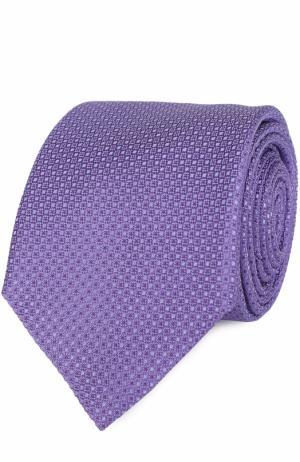 Шелковый галстук с узором Canali. Цвет: светло-сиреневый