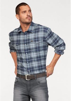 Рубашка Arizona. Цвет: синий/белый/коричневый в клетку