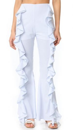 Расклешенные книзу брюки с разрезами и оборками Viva Aviva. Цвет: светло-синий/белый в полоску