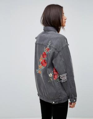 Uncivilised Джинсовая куртка с цветочной вышивкой. Цвет: черный